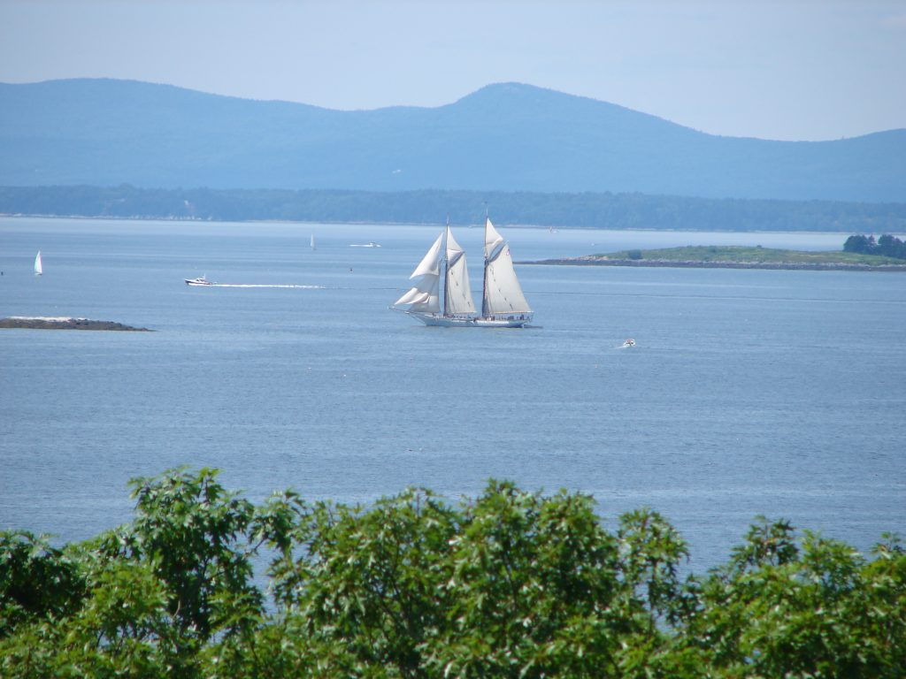 Joyfulness: Share the Journey. (Sail boat in ME harbor)